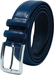 mens navy 33mm leather feather stitched