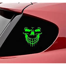 Amazon Com Slap Art Skull Face Vinyl Decal Sticker Lime Green Automotive