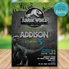 Editable Jurassic World Fallen Kingdom Birthday Diy Bobotemp