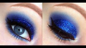 blue glittery prom makeup you