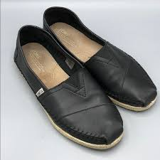 toms shoes mens black leather loafer