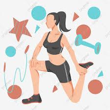 بنت التمرين رسم كاريكتوري تصوير الرياضة تصوير اللياقة تمرن