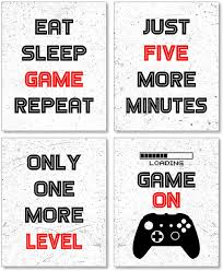 Amazon Com Game Room Decor Boys Room Decorations For Bedroom Gaming Wall Art For Kids Boy Playroom Home Decor Boy Room Decor Gaming Posters Set Of 4 8x10in Unframed Posters Prints