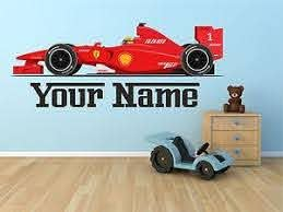 F1 Ferrari Car Personalised Wall Sticker Art Vinyl Decal Graphic Tr39 Ebay Personalised Wall Stickers Sticker Wall Art Wall Stickers Bedroom