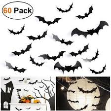 Unomor Halloween Bat Decorations Wall Decal Halloween Window Decorations Indoor Outdoor 60 Pcs With 4 Sizes