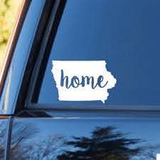 Iowa Home Decal Iowa State Decal Homestate Decals Love Sticker Love Decal Car Decal Car Stickers Bumper Family Car Decals Family Car Car Decals