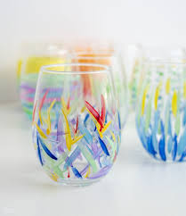 diy painted wine glasses from the