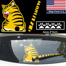 Car Vehicle Rear Window Wiper Moving Tail Cartoon Funny Cat Decals Sticker Film For Sale Online Ebay