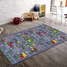 City Map Kids Area Rug 3 X 5 Children Grey Carpet Playroom Nursery Non Skid Gel Backing 39 X 56 Walmart Com Walmart Com