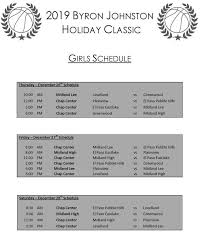 Game Schedule - Byron Johnston Holiday ClassicBasketball Tournament