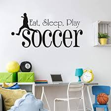 Amazon Com Eat Sleep Play Soccer Wall Decals Boy Playing Football Wall Stickers For Boys Room Kids Room Nursery Living Room Home Decoration Kitchen Dining