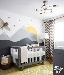 Sunrise With Gold Triangles Grey Mountain Scenery Nursery Wall Decal Kinds Room Stickers Bedroom Wall Deca Baby Room Themes Eclectic Nursery Stylish Nursery
