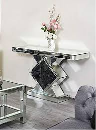 crystal sparkle mirrored console table