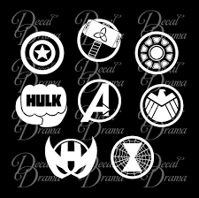 Avengers Emblems Set Marvel Comics Inspired Vinyl Car Laptop Decal Decal Drama