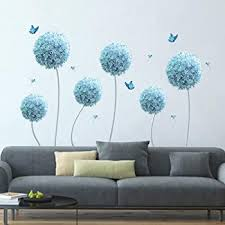 Amazon Com Decalmile 6 Blue Dandelion Wall Decals Allium Flower Butterfly Wall Stickers Living Room Bedroom Tv Wall Decor Flower Size 33 Inches Kitchen Dining