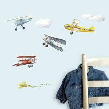 Vintage Airplanes Wall Decals 22 New Planes Stickers Boys Room Decor Walmart Com Walmart Com