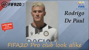 FIFA 20 Rodrigo De Paul Look alike in Udinese // Fifa20 Pro club - YouTube