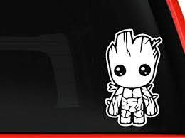 Amazon Com Baby Groot Vinyl Decal Sticker Cars Trucks Vans Walls Laptops Cups White 5 5 Inches Computers Accessories