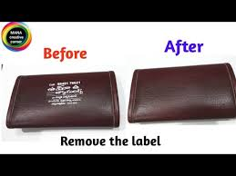 printed labels on leather purse bag