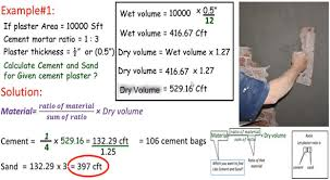 calculate cement and sand in plaster