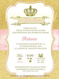 Tarjeta Princesa Baby Shower Nina Cumpleanos Estilo Realeza
