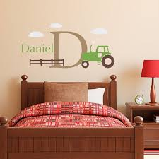 Tractor Decal Boys Name And Initial Decal Farmer Decor Medium Set Wall Stickers Bedroom Initials Wall Decal Boys Bedroom Decor