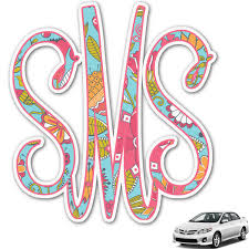 Wild Flowers Monogram Car Decal Personalized Youcustomizeit