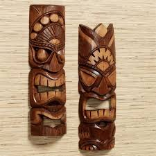 tiki warrior handcarved wood mask wall