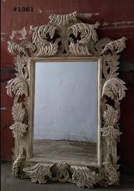 white antique wooden mirror frame size