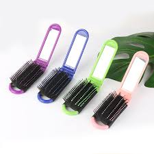 portable travel folding hair brush with