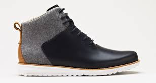 gray wool chukka boot with white soles