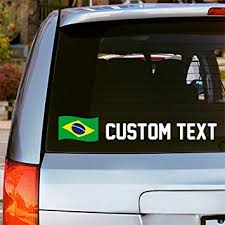 Amazon Com Oliver S Labels Custom Vinyl Brazil Flag Window Car Decal Sticker Choose Font Color And Text Automotive