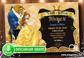 Invitacion De La Bella Y La Bestia Para Editar Gratis Mega Idea