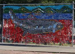 Block Renaissance Newport Artists Create Murals On Fencing Around Stalled Project Vermont Public Radio