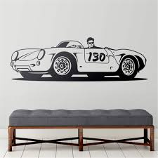 Amazon Com Gafuen Wall Art Stickers Quotes And Sayings Car Wall Sticker Boy Room Decal Porsche 550 Spyder Little Bastard For Living Room Boys Room Home Kitchen