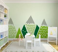 Mountains Wall Decal For Nursery Kids Mountains Yellow Grey Etsy