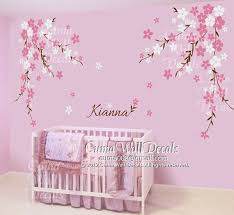 Nursery Wall Decal Baby Girl And Name Wall Decals Flowers Cherry Blossom Wall Sticker Weddin Nursery Wall Decals Nursery Wall Stickers Nursery Wall Decals Tree