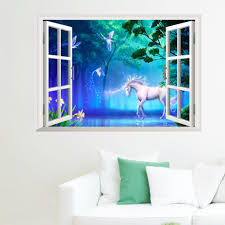 3d Wall Stickers Home Wall Decor Forest Unicorn Kids Room Bedroom Decoration Diy False Window Poster Mural Wallpaper Wall Decals Kids Room Wall Decals Kids Room Wall Stickers From Topboom 1 93 Dhgate Com