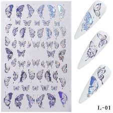 Hot Offer 1a339 3d Butterfly Nail Stickers Nagels Nail Art Laser Gold Silver Vlinder Sticker Decal Vlinders Acryl Manicure Decoratie Tools Hot Cicig Co