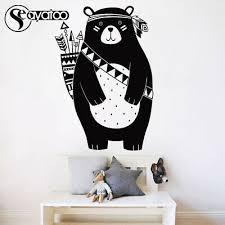 Cartoon Animal Bear Tribal Woodland Vinyl Wall Sticker Decal Nursery Kids Room 13 25 Picclick
