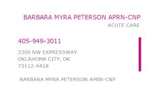 1164067484 NPI Number | BARBARA MYRA PETERSON APRN-CNP | OKLAHOMA CITY, OK  | NPI Registry | Medical Coding Library | www.HIPAASpace.com © 2020