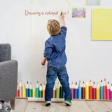 Fairyteller Drawing A Colorful Life Wall Stickers For Kids Rooms Colorful Pencil Wall Decals Art Nursery Child Kid Room Decor Wall Stickers Kids Decal Wall Art