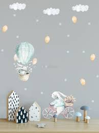 Kids Cartoon Rabbit With Balloons And Snowflake Wall Decal Sticker Wall Decals Wallmur