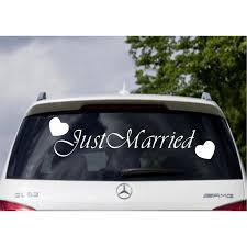 Just Married Car Window Banner Vinyl Sticker Decal Wedding Sign Love Hearts Decals Mural Removable Wedding Decor B197 Wall Stickers Aliexpress