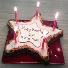 star shape candle birthday cake with