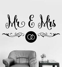 Vinyl Wall Decal Mr Mrs Wedding Salon Boutique Bedroom Design Stickers 930ig Ebay
