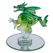 hand blown glass green dragon figurine