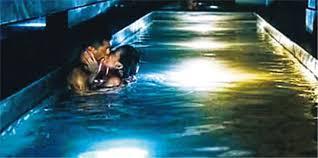 天色已晚泳池擁吻