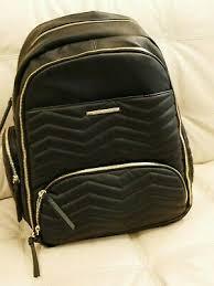 large backpack diaper bag black leather