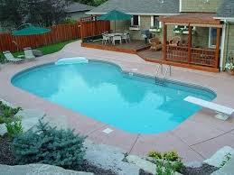 pool idea beside beautiful wooden patio